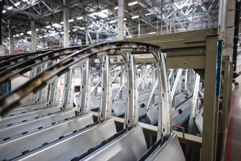 Doors in a automobile factory