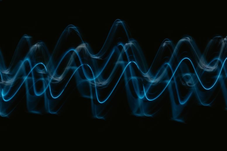 Sound wave forms on a screen