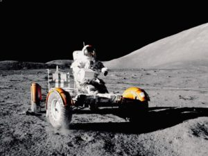 A Lunar Roving Vehicle on the moon in a NASA photo.
