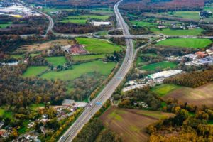 An aerial view of an interstate highway.