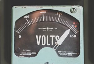a maxxed-out voltage meter